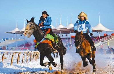 银色那达慕上多彩的蒙古族冬装