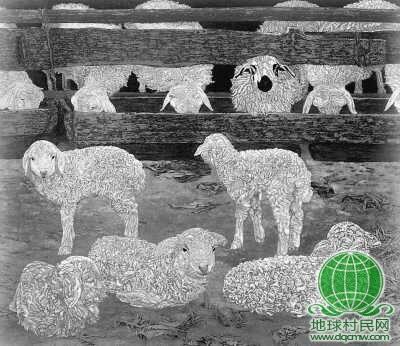 大羊年年生,小羊日日增(漆画)