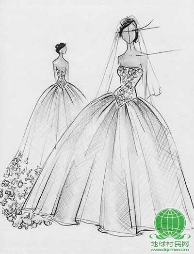 旗袍手绘设计图片