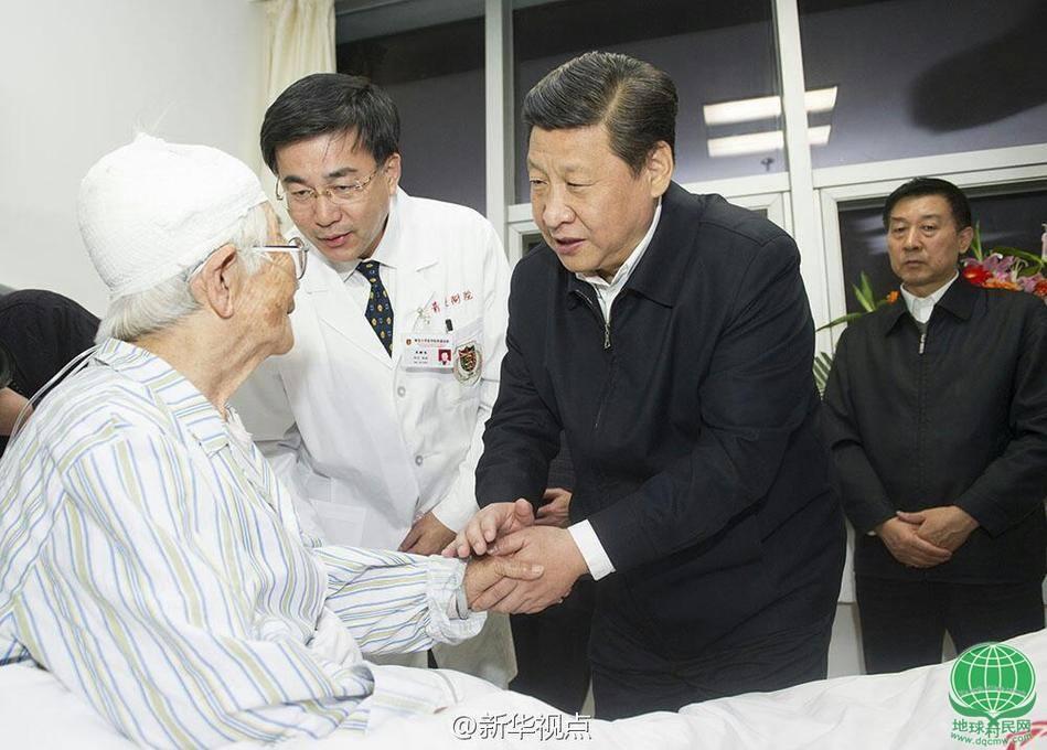 习近平赴青岛看望爆燃事故受伤人员(图)