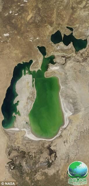 NASA卫星图片显示咸海首次出现干涸部分