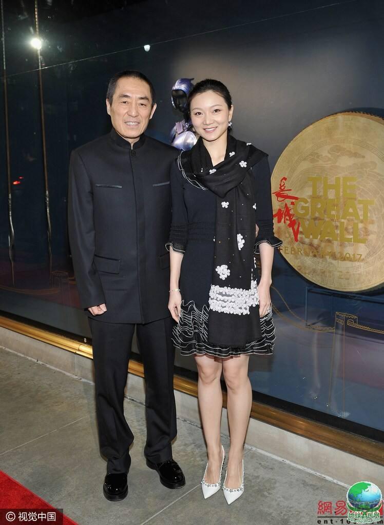 张艺谋《长城》北美首映礼 携爱妻与景甜亮相